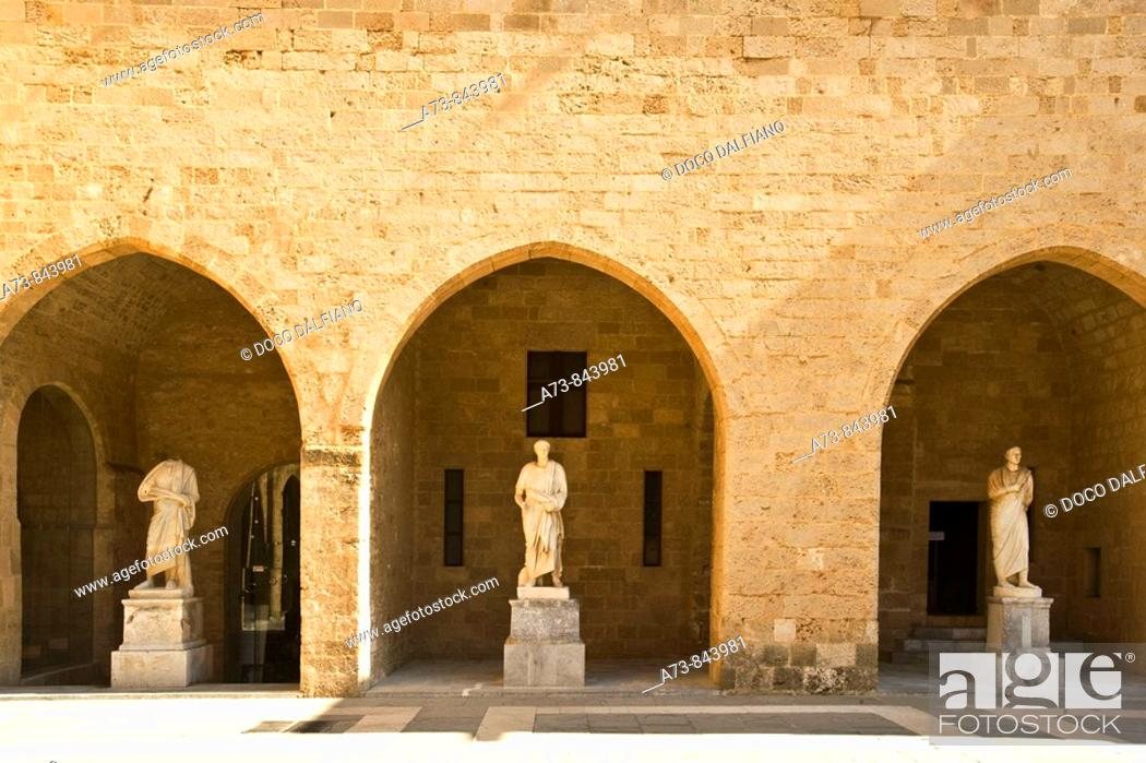 Stock Photo: Courtyard of the Grand Master's Palace, Rhodes. Dodecanese islands, Greece.