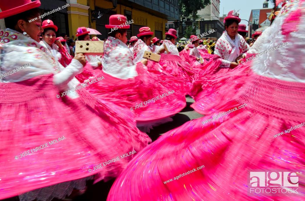 Stock Photo: Candelaria folk parade in Lima downtown  Peru.