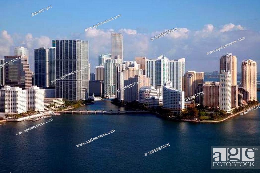 Stock Photo: Aerial of Miami River in Downtown Miami.