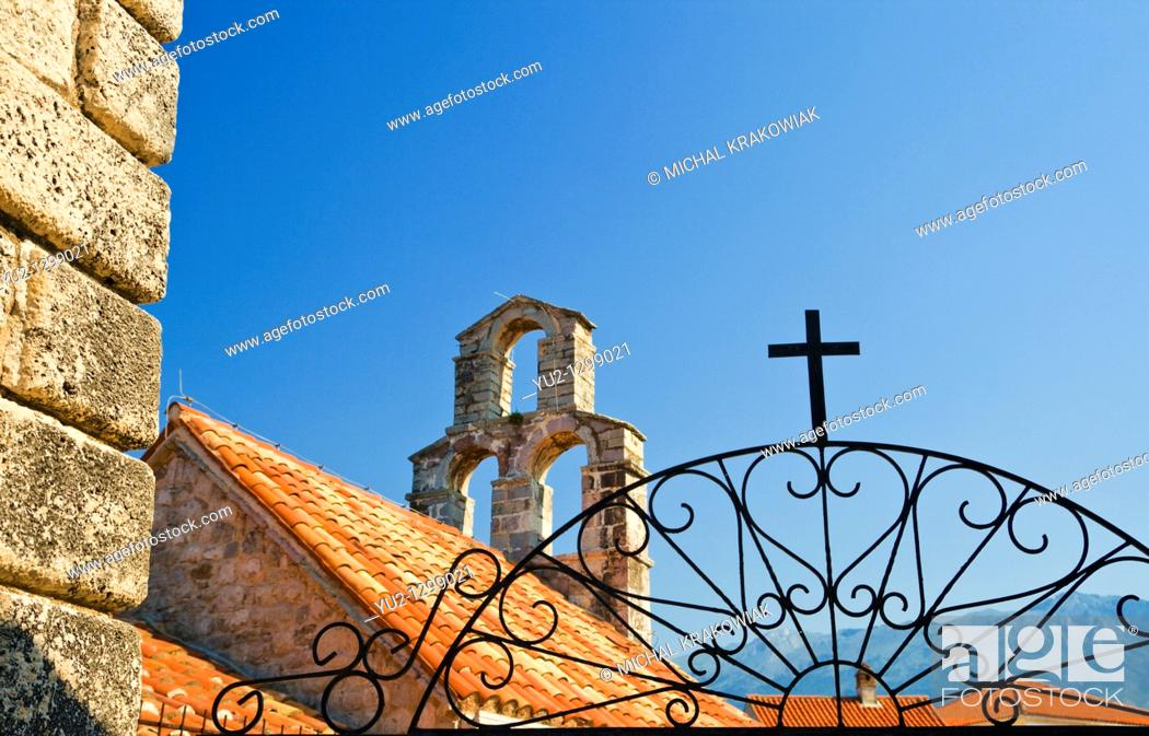 Stock Photo: Detail of church in Budva, Montenegro.