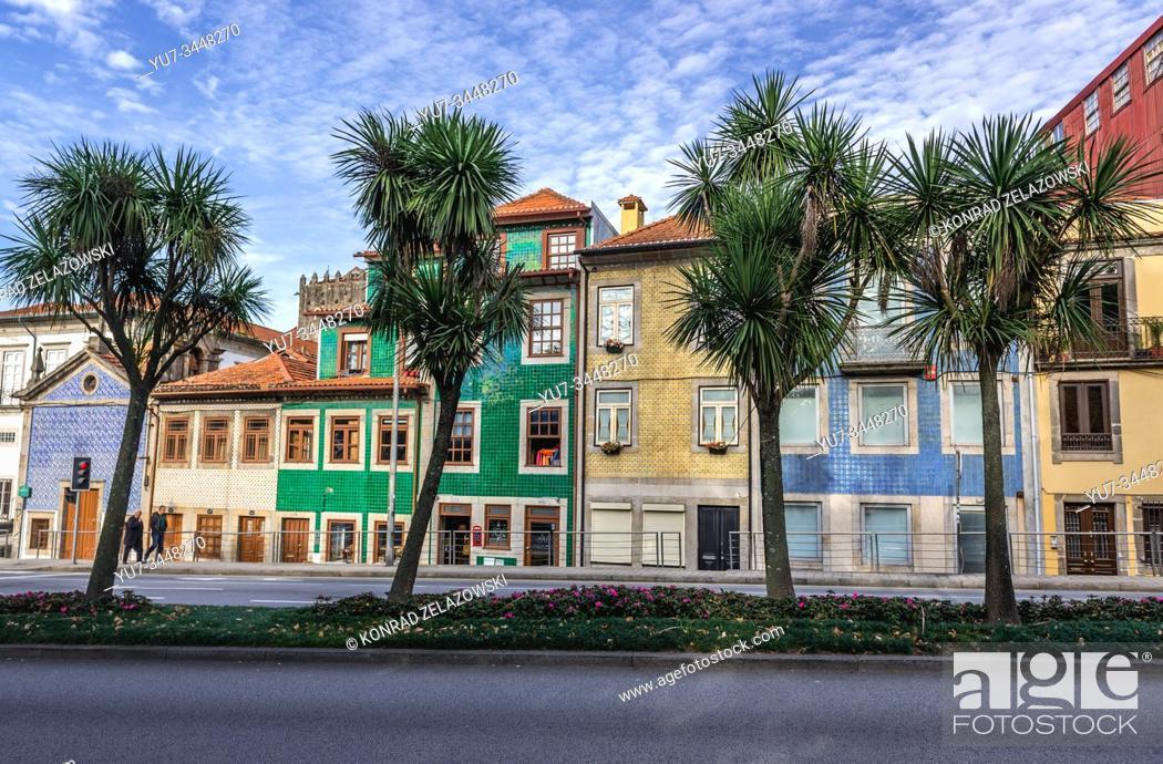 Stock Photo: Town houses on Rua de Dom Manuel II street in Porto city, second largest city in Portugal. Senhor da Boa Nova Chapel on left side.