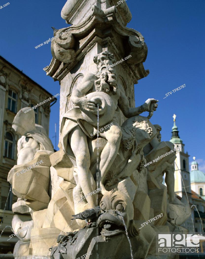 Stock Photo: Fountain, Holiday, Landmark, Ljubljana, Robbov, Slovenia, Europe, Tourism, Travel, Vacation, Vodnjak,.