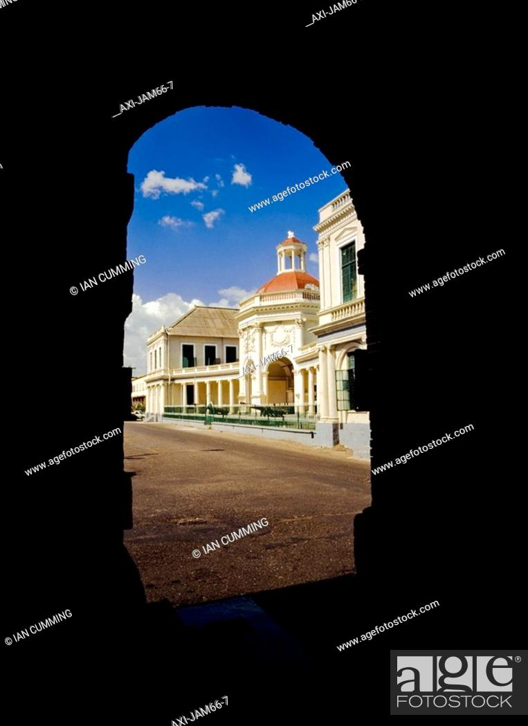 Stock Photo: View of Rodney Memorial through archway.