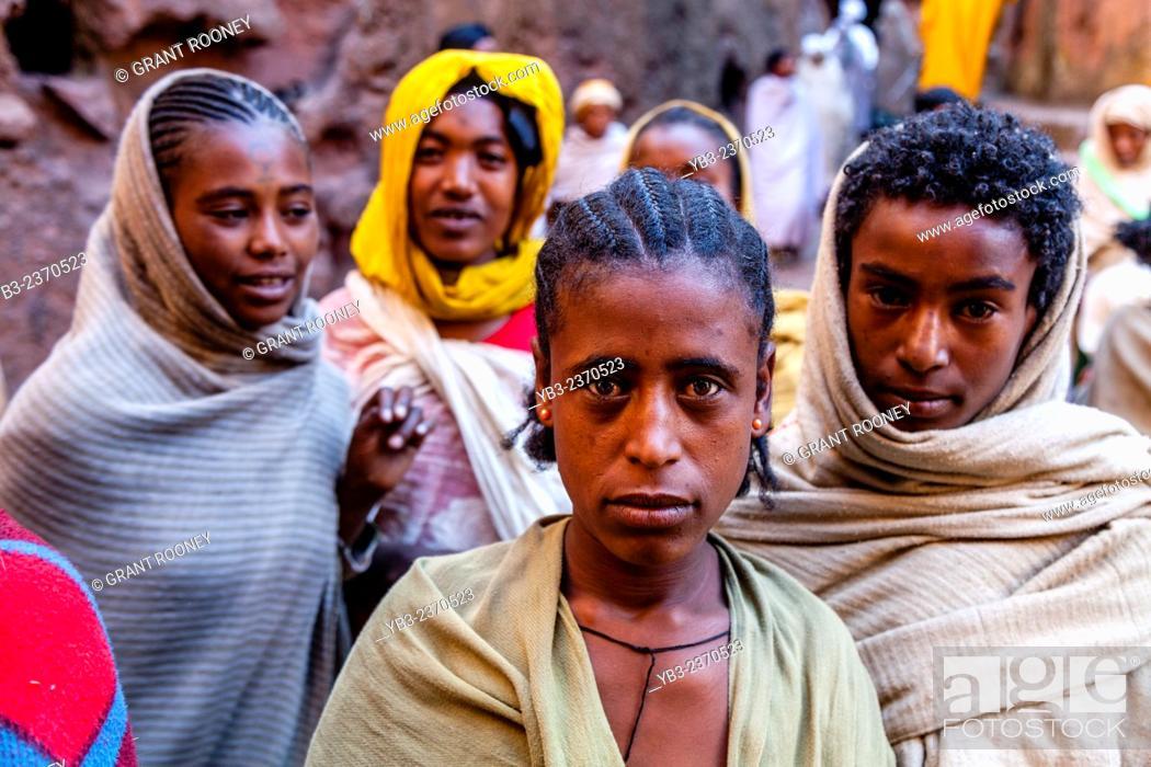 Stock Photo: Christian Pilgrims, Biete Giyorgis (Church of Saint George), Lalibela, Ethiopia.