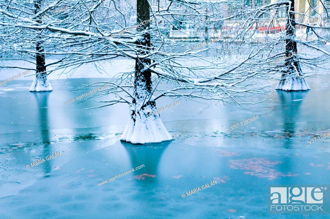 Stock Photo: Frozen over pond, Cristal Palace. The Retiro park, Madrid, Spain.