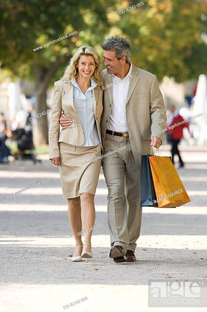 Stock Photo: A mature couple walking.