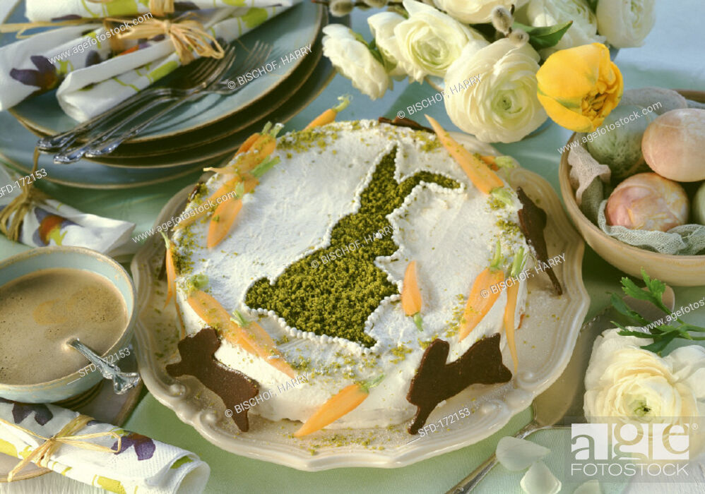 Stock Photo: Almond carrot cake with pistachio Easter bunny.