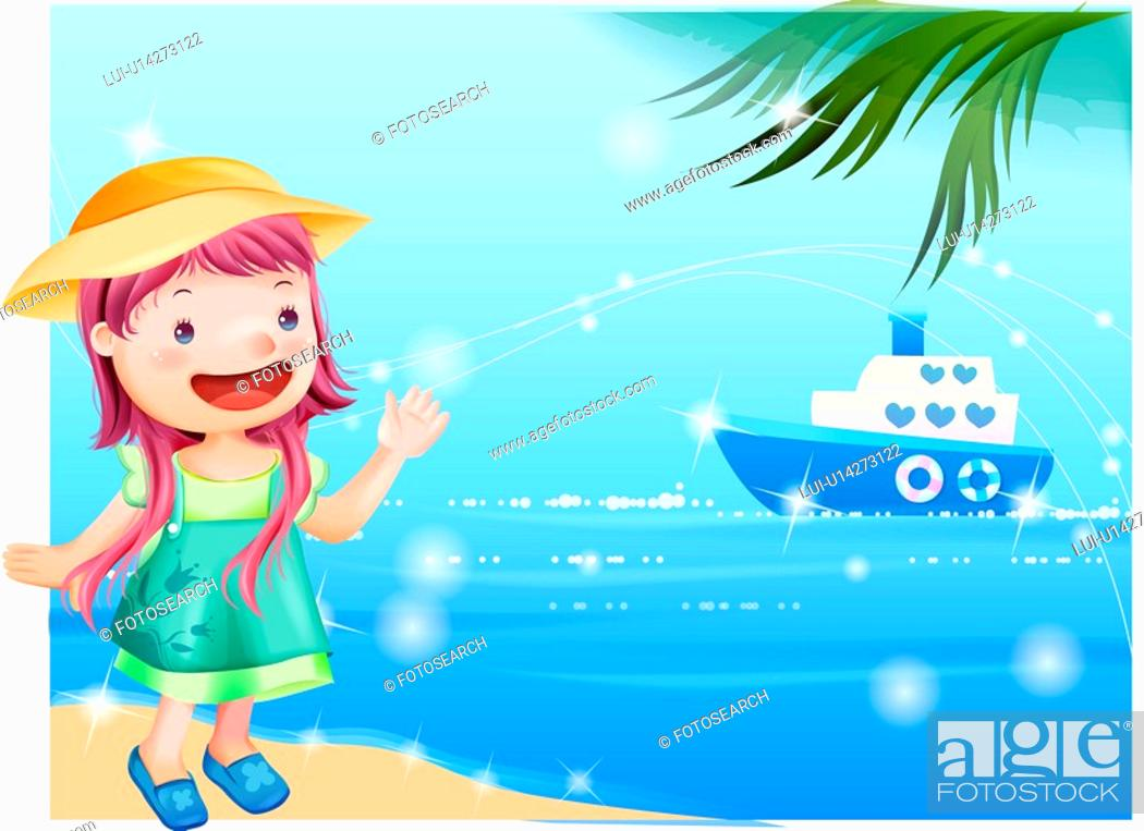 Stock Photo: ship, fairy tale, summer, beach, sea, nature.