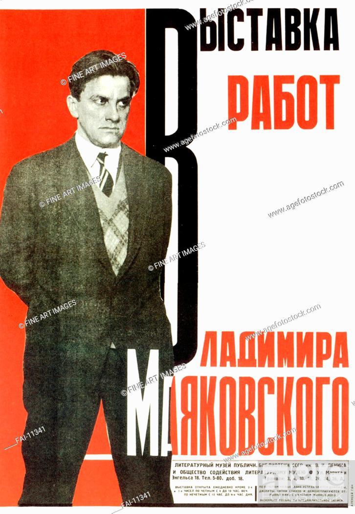 Stock Photo: Poster for an Exhibition of Vladimir Mayakovsky's Works. Gan, Alexei Mikhailovich (1893-1940). Lithograph. Soviet Art. 1931.