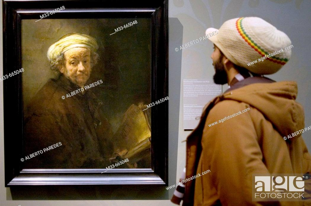 Stock Photo: Netherlands - Noord Holland - Amsterdam - The painting by Rembrandt 'Selfportrait as Saint Paul' in the Rijksmuseum.
