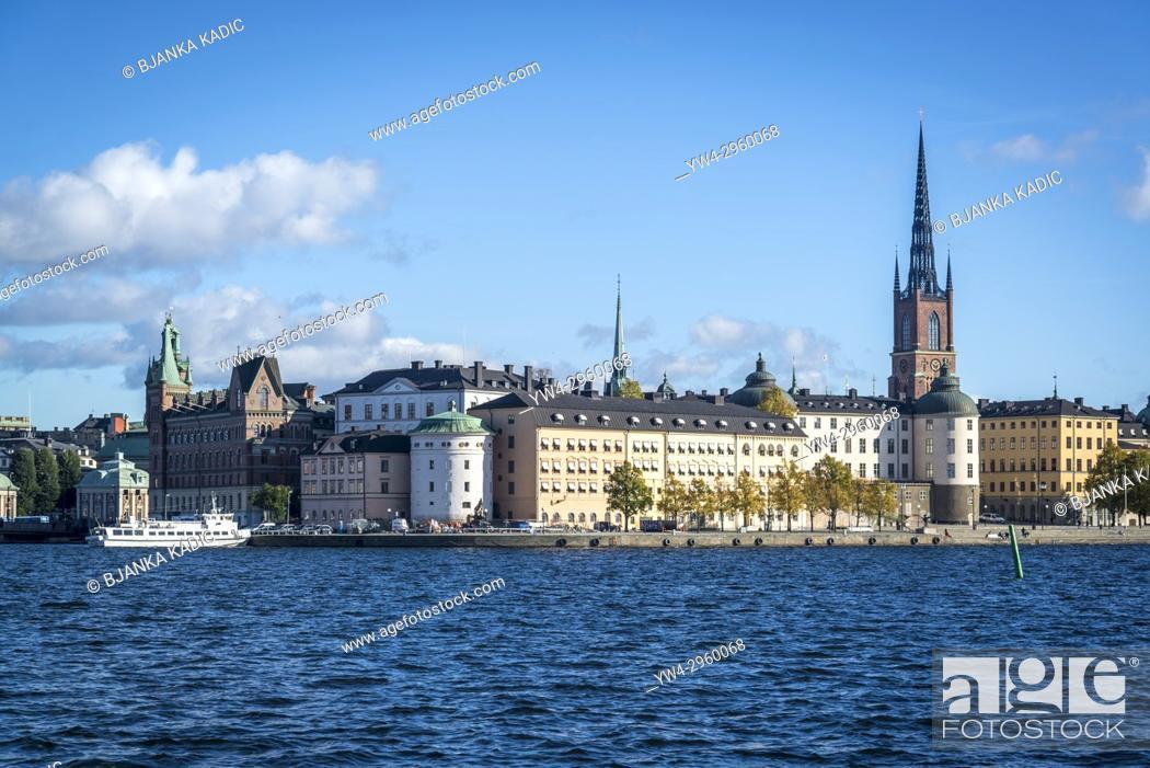 Stock Photo: View of Riddarholmen and Riddarholmen church, Stockholm, Sweden.