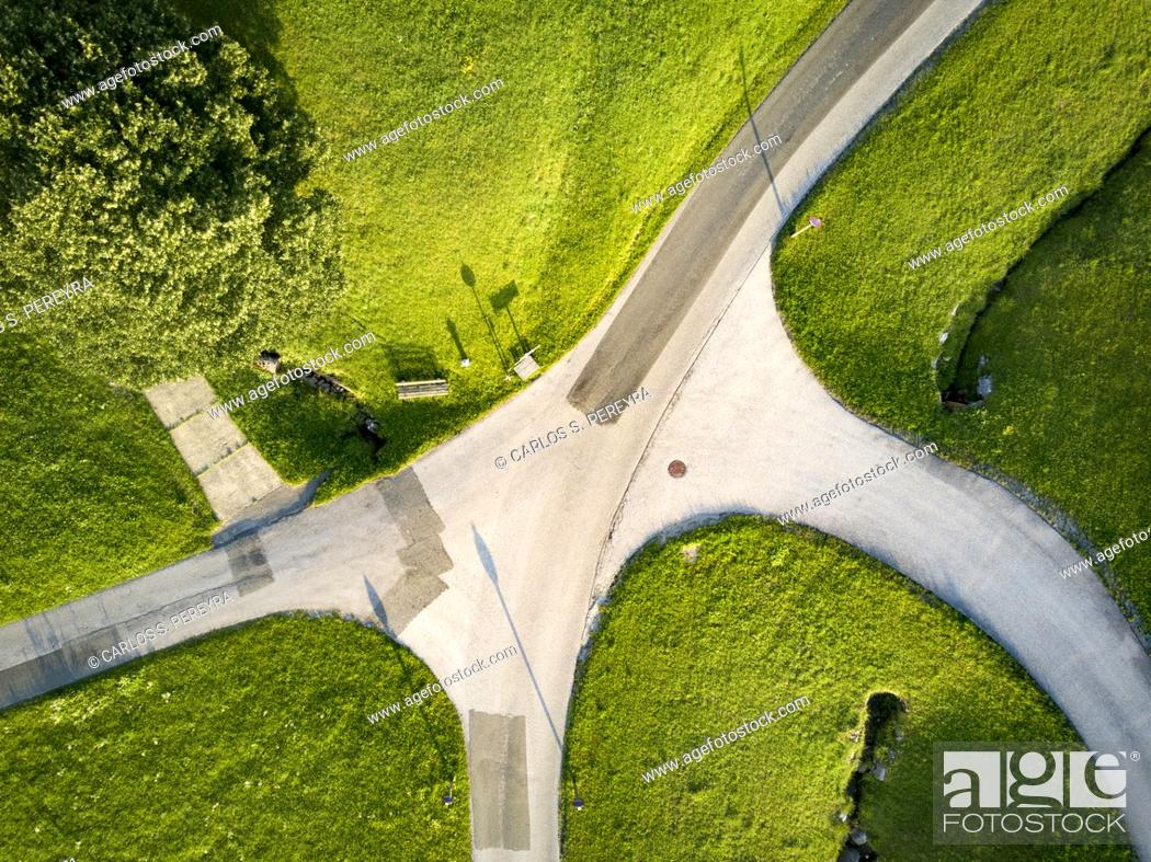 Photo de stock: Aerial view made with a drone in a rural area in the Austrian Alps.