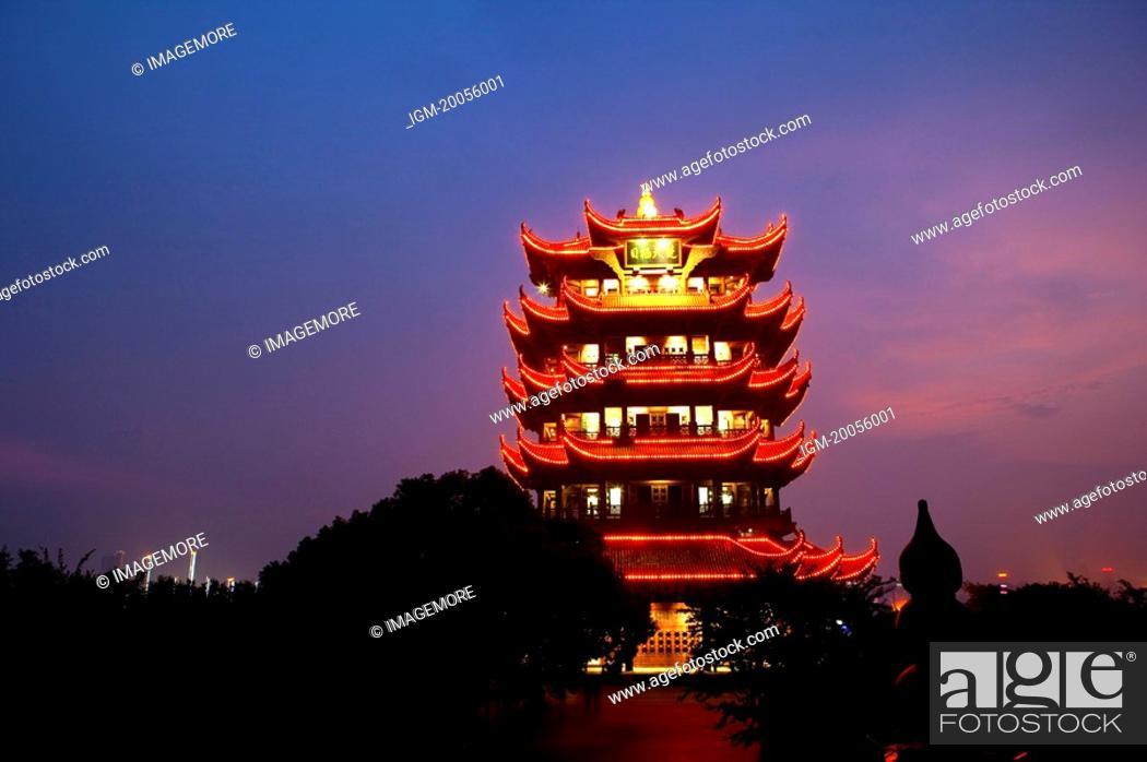 Stock Photo: China, Hubei Province, Wuhan, Wuchang, Yellow Crane Tower, night scene.