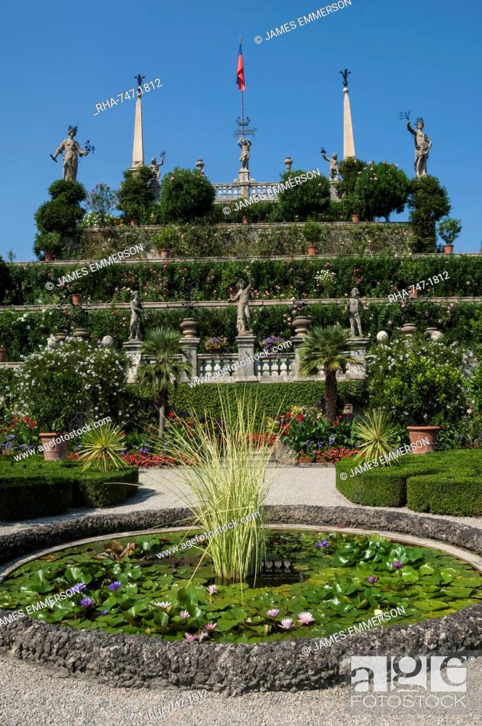 Stock Photo: Floral terraces, Isola Bella, Lake Maggiore, Stresa, Borromean Islands, Italian Lakes, Piedmont, Italy, Europe.