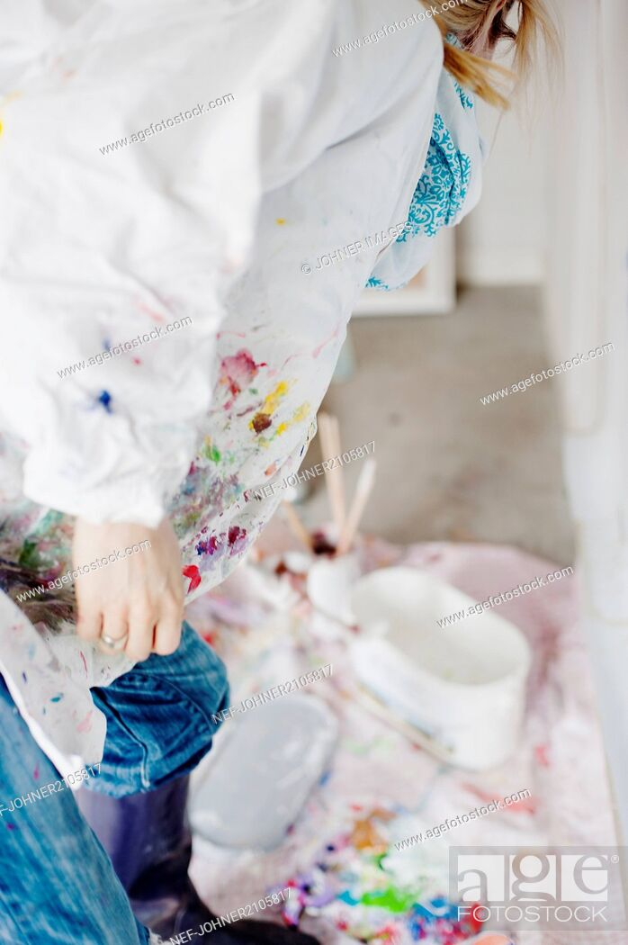 Stock Photo: Artist making a painting.