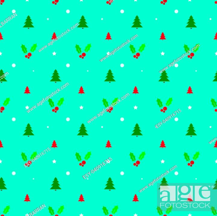 Vector: Christmas seamless pattern with trees, snowflakes and holly. Vector illustration.
