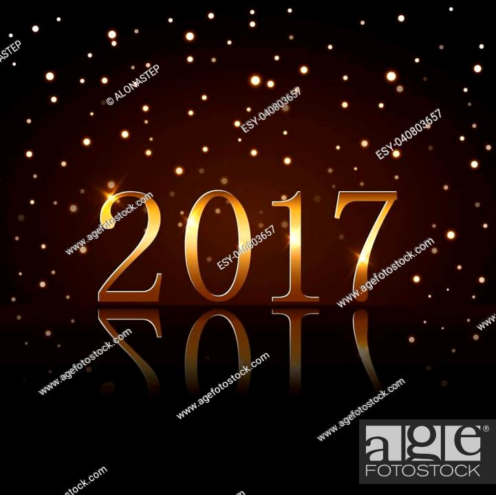 Stock Vector: Happy New Year background with magic gold rain. Golden numbers 2017. Christmas design light, vibrant, glow and sparkle, glitter.