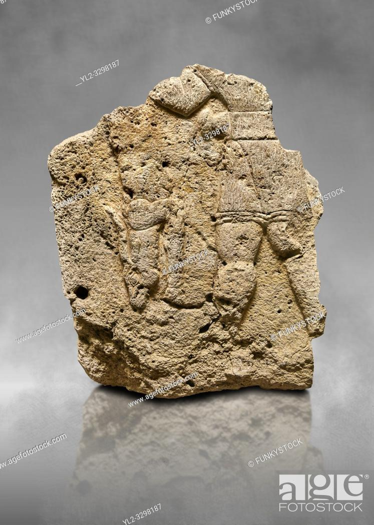 Stock Photo: Hittite relief sculpted orthostat stone panel of Long Wall Limestone, Karkamıs, (Kargamıs), Carchemish (Karkemish), 900 - 700 B. C.