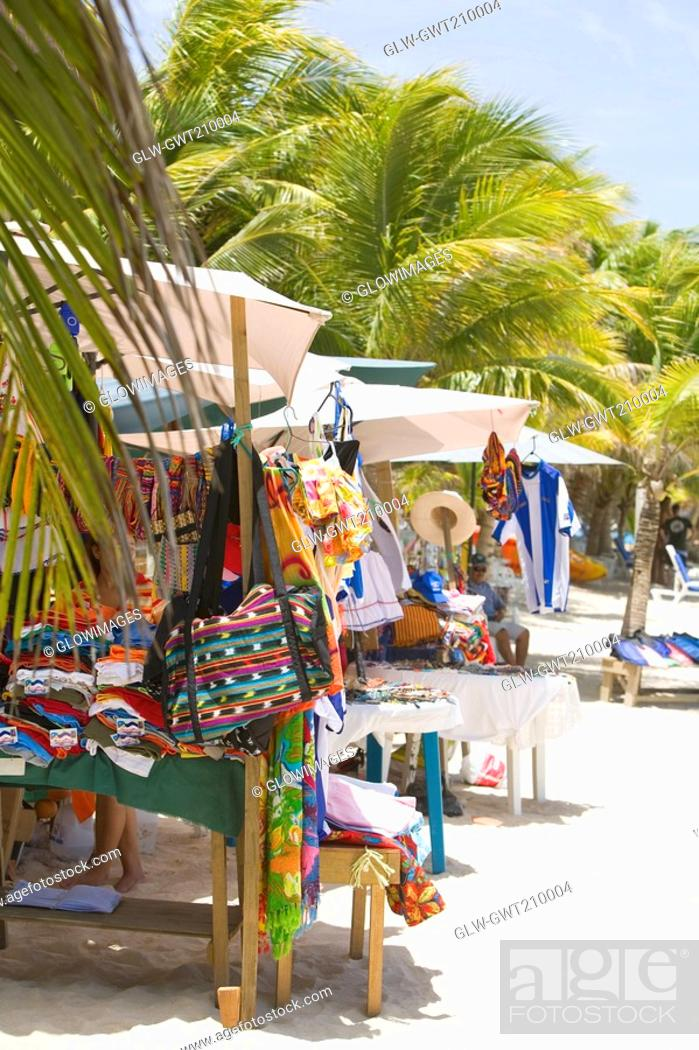Stock Photo: Market stall on the beach, Honduras.