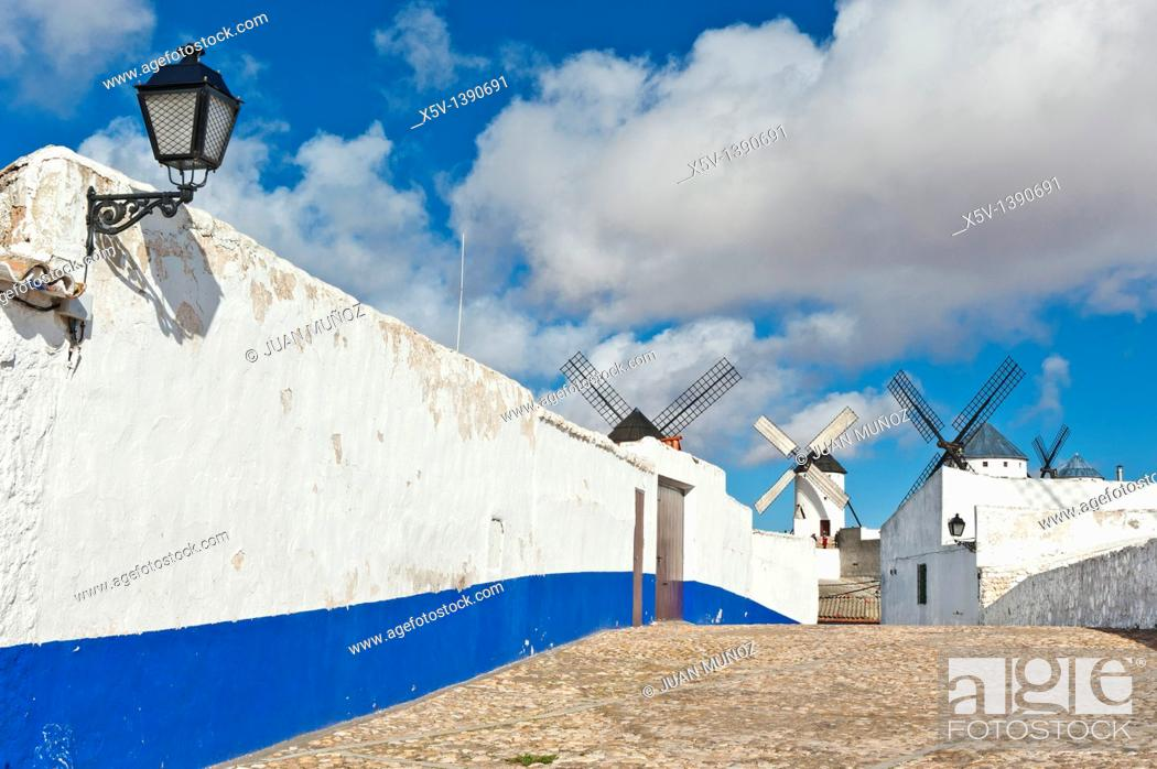 Stock Photo: Windmills, Campo de Criptana, Ciudad Real province, Castilla-La Mancha, Spain.