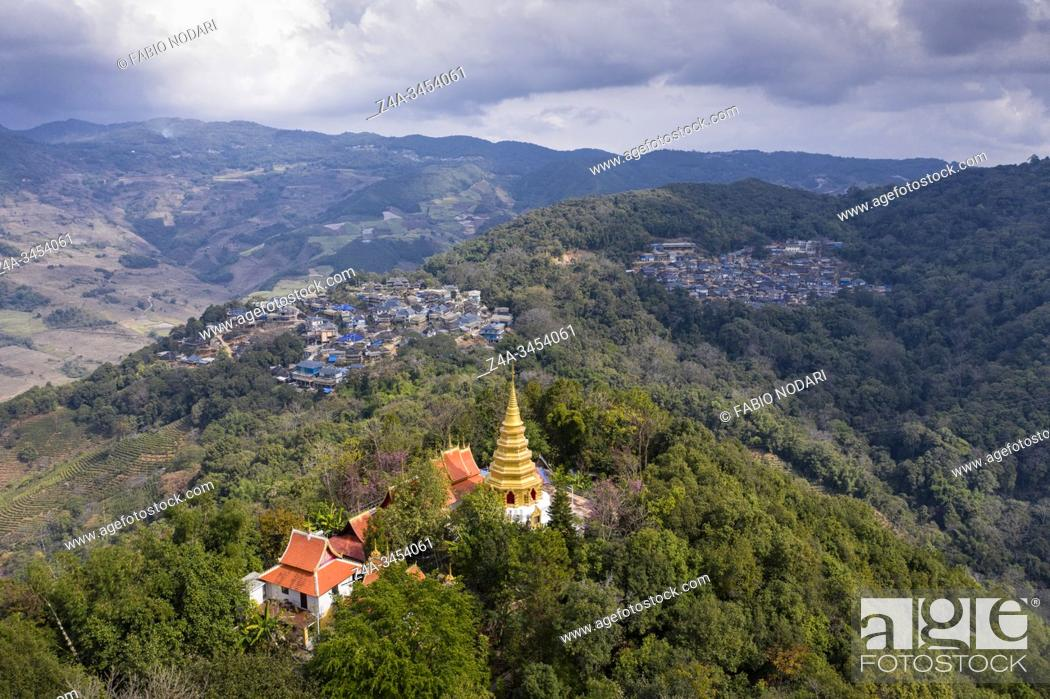 Stock Photo: Aerial view of a remote Dai village in Xishuangbanna, Yunnan - China.