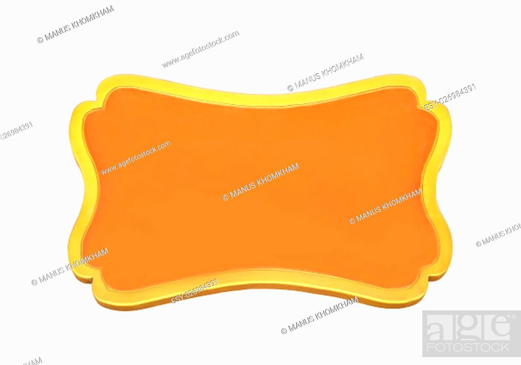 Photo de stock: Orange wooden sign isolated on white with clipping path.