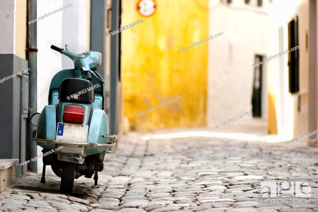 Stock Photo: Travel to Menorca by Motorbike, Spain.