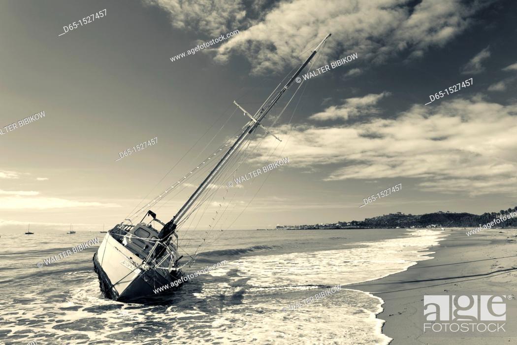 Stock Photo: USA, California, Southern California, Santa Barbara, storm wrecked yacht, East Beach.