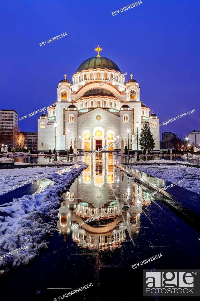 Stock Photo: Saint Sava temple in winter, Belgrade Serbia.