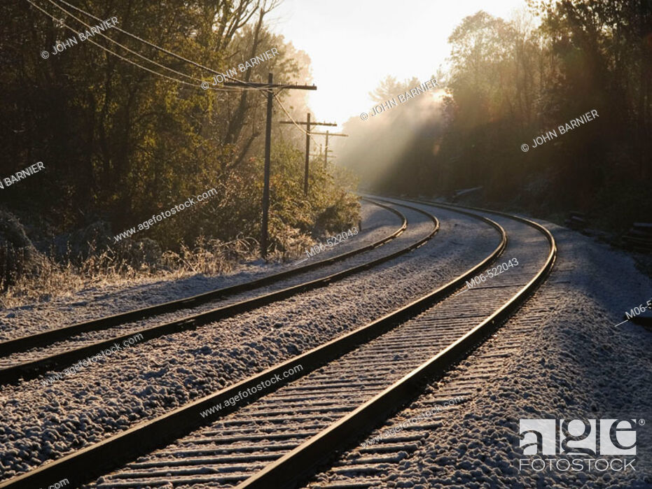 Stock Photo: Train tracks on a misty morning in Lincoln, Massachusetts. Early morning. misty.