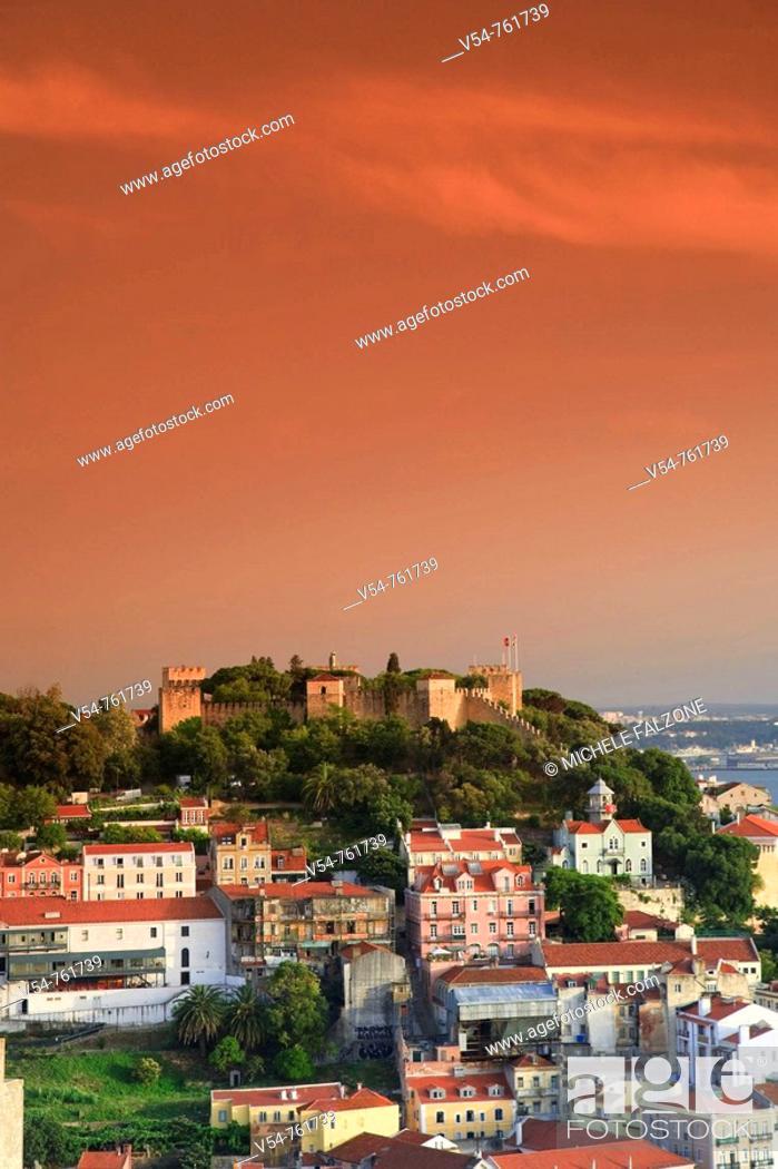 Stock Photo: Baixa district and Castelo de Sao Jorge, Lisbon, Portugal.