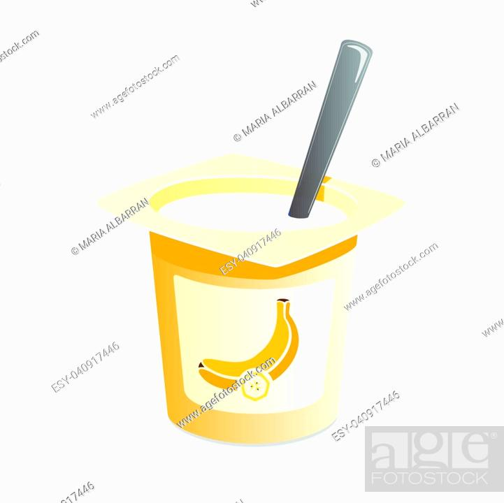 Vector: Banana yogurt with spoon inside on white background.