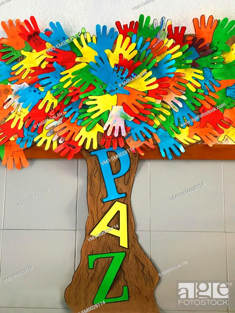 Stock Photo: Peace tree. Collage in a school.
