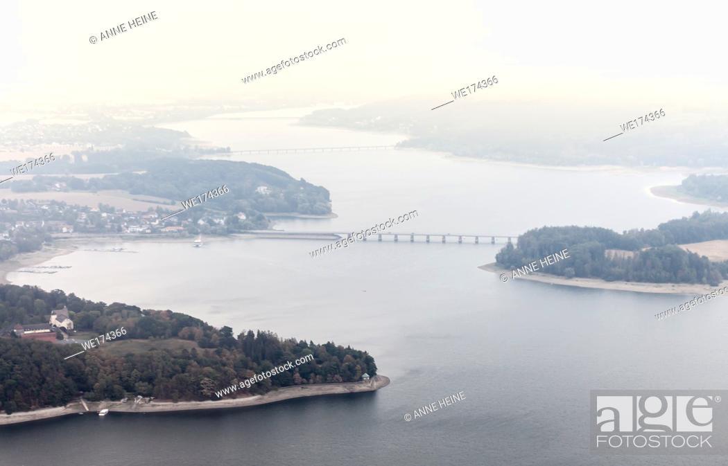 Stock Photo: Aerial photo of Soester Börde, Haarstrang, Germany. Möhnesee.