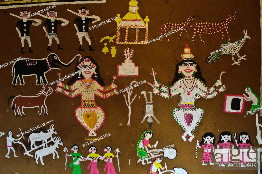 Stock Photo: Tribal painting at the Jagdalpur Anthropological Museum ( Chhattisgarh state, India).