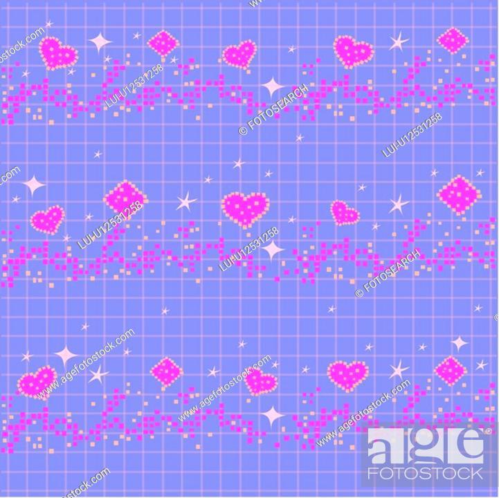Stock Photo: indoors, wallpaper, background, star, heart, design arts, pattern.