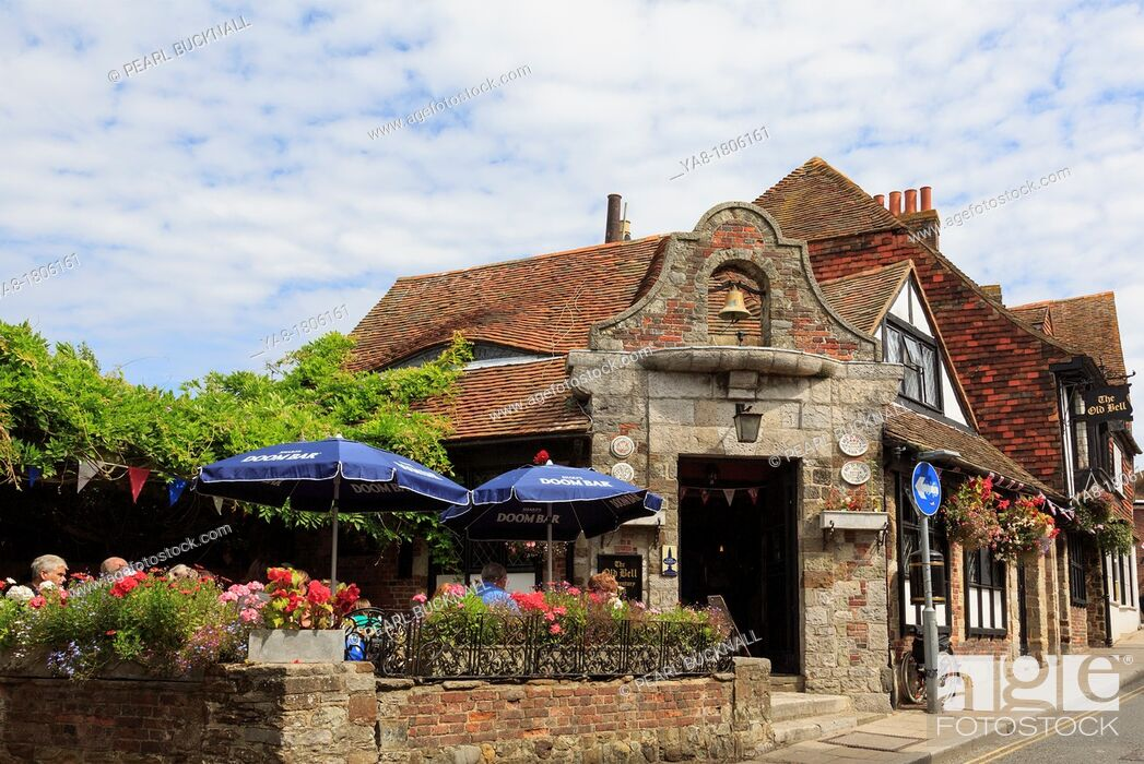 Stock Photo: Rye, East Sussex, England, UK, Britain, Europe  Ye Old Bell Inn 15th century smugglers pub in historic Cinque port town with people sitting outside in summer.