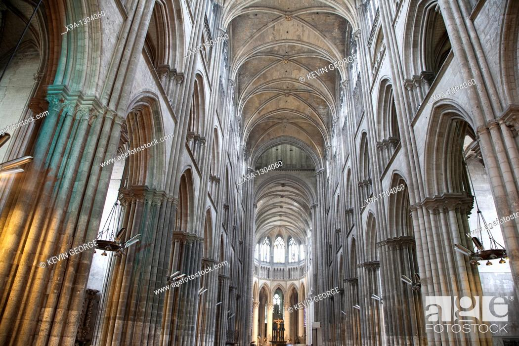 Stock Photo: Interior of Rouen Cathedral Church, Normandy, France.