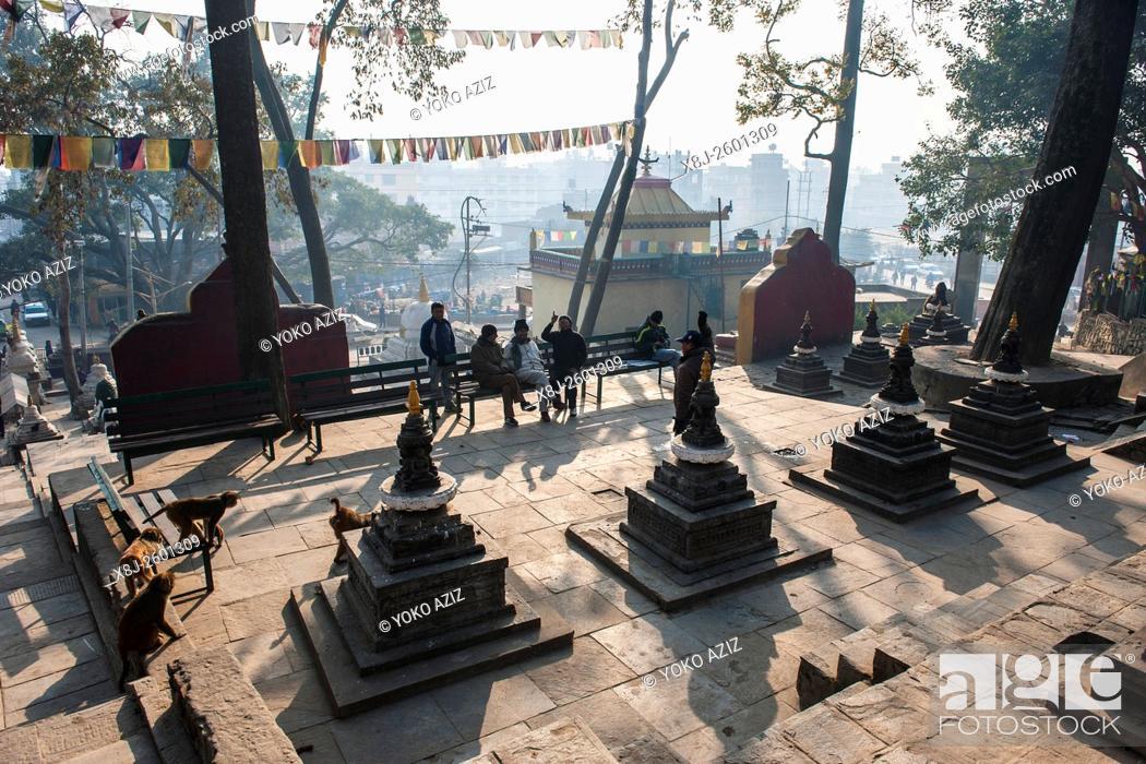 Stock Photo: Nepal, Kathmandu, Swayambhunat.