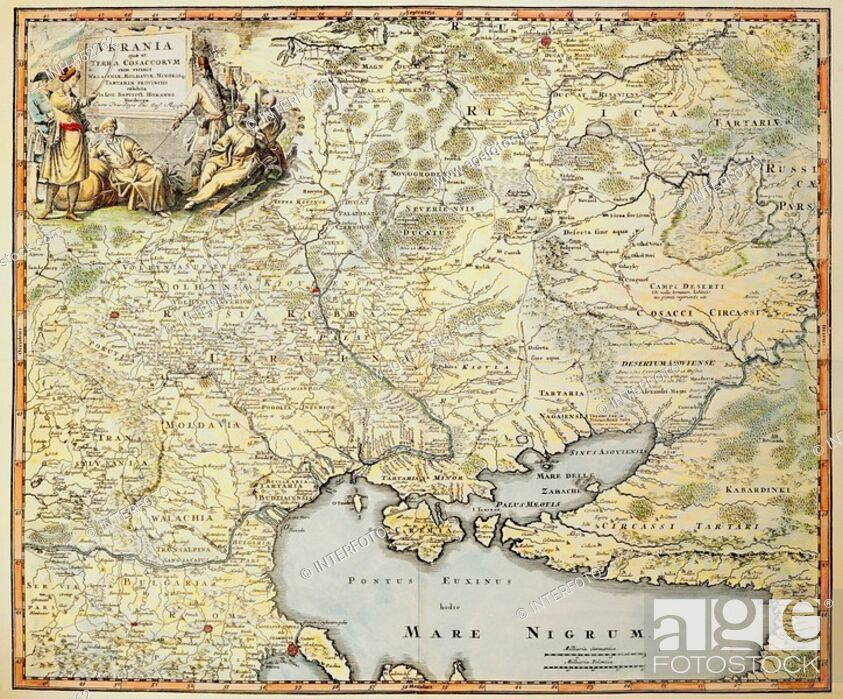 Cartography Maps Ukraine Coloured Copper Engraving By Johann