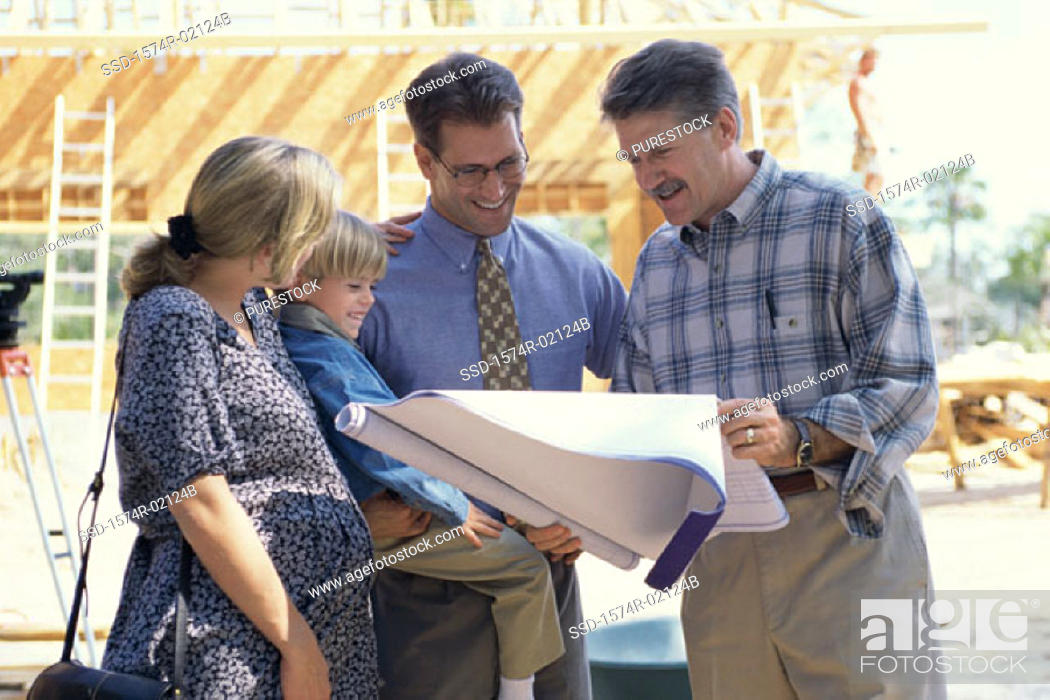 Stock Photo: Architect discussing blueprints with a family.