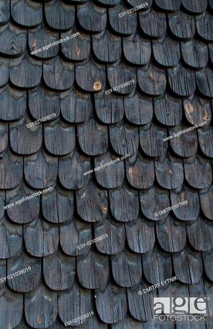 Stock Photo: old black wooden tiles.