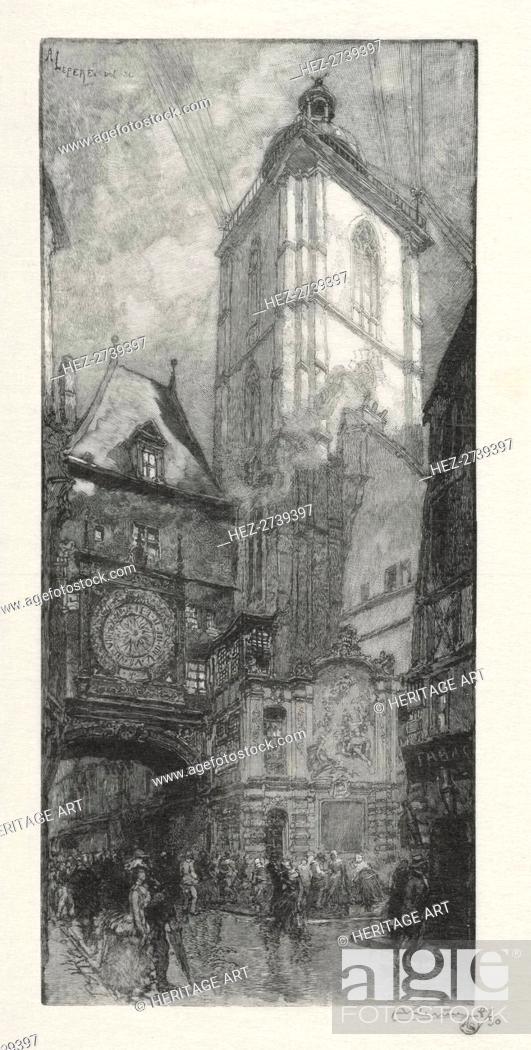Stock Photo: Rouen Illustré: La Gros Horloge, 1888. Creator: Auguste Louis Lepère (French, 1849-1918).