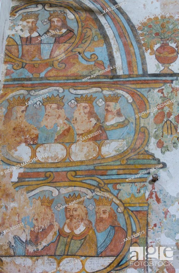 Stock Photo: Frescoes, Church of Santa Clara, Founded 1553, Dzidzantun, Yucatan, Mexico.