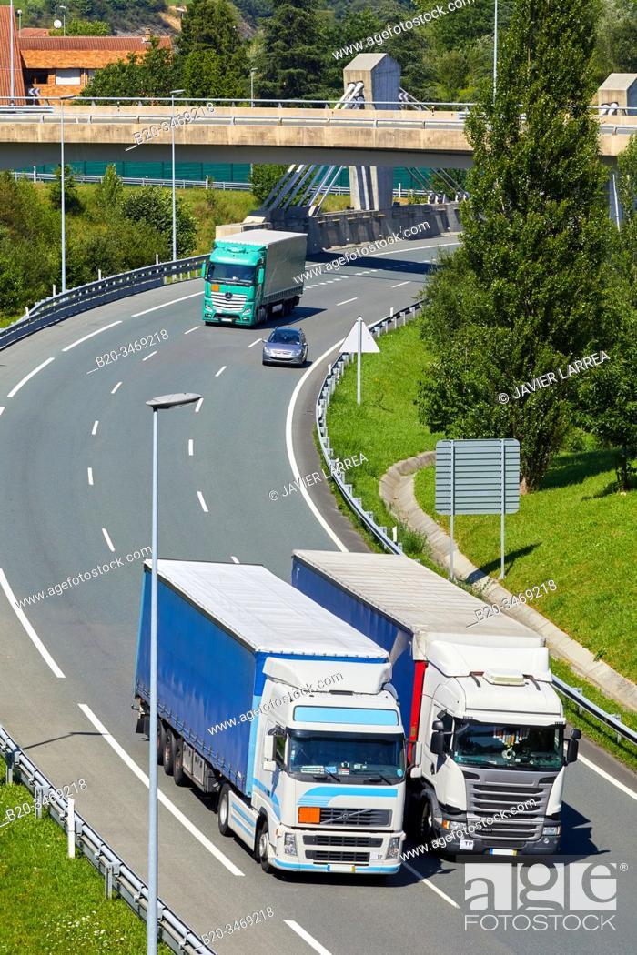 Stock Photo: Highway Trucks, Gipuzkoa, Basque Country, Spain, Europe.