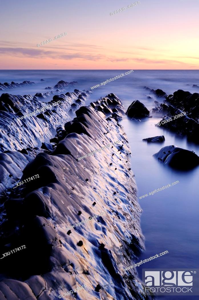 Stock Photo: Welcombe Mouth on the North Devon coast near Welcombe, Devon, England, United Kingdom.