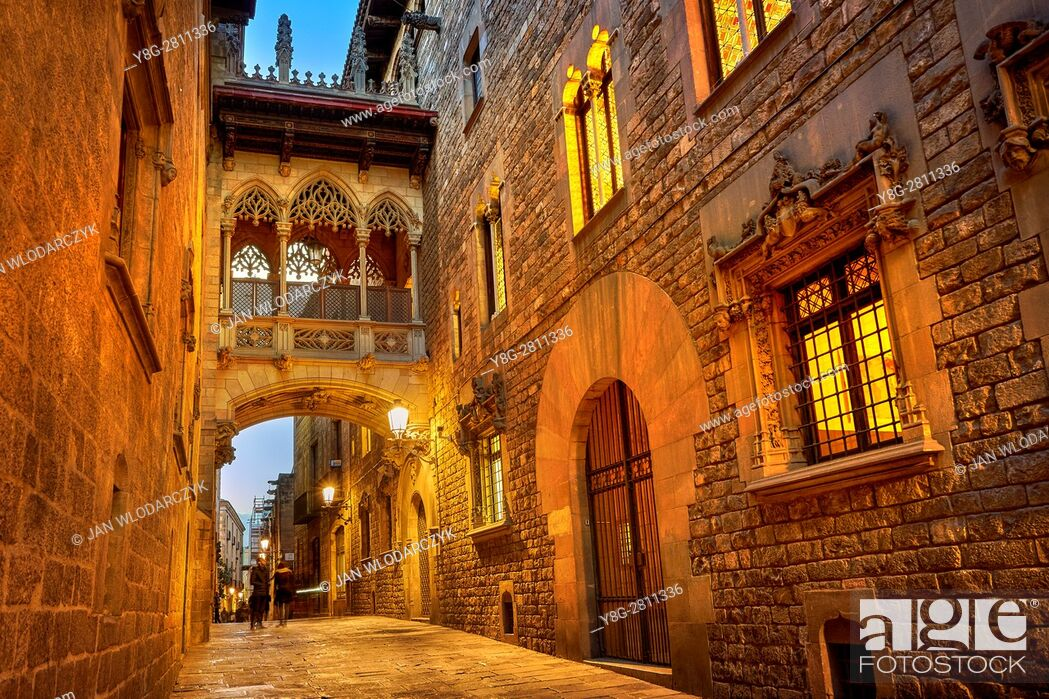 Stock Photo: Carrer del Bisbe Street, Ghotic Quarter, Catalonia, Spain.