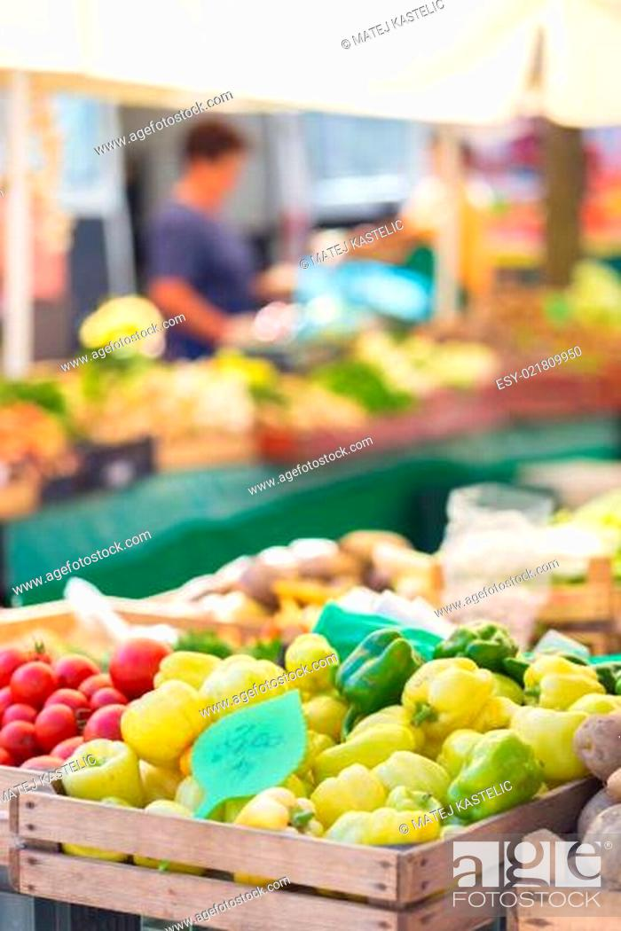Stock Photo: Farmers' market stall.
