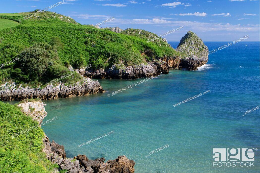 Stock Photo: Berell'n beach, in Val de San Vicente, Cantabria, Spain.