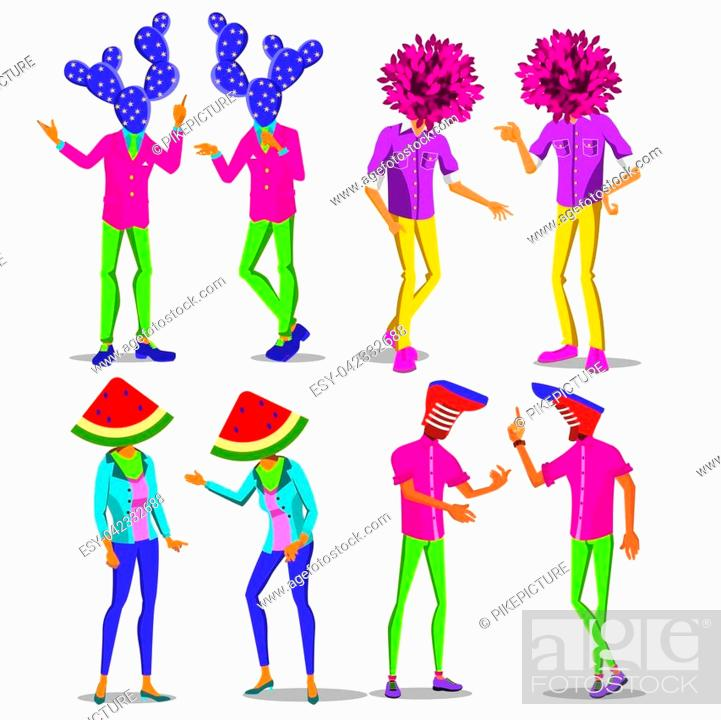 Stock Vector: Minimal Surrealism Vector. Creative Person. Surreal People. Art Collage. Psychedelic Background. Trendy Summer Colors. Unusual Fun. Stylish Fantasy.